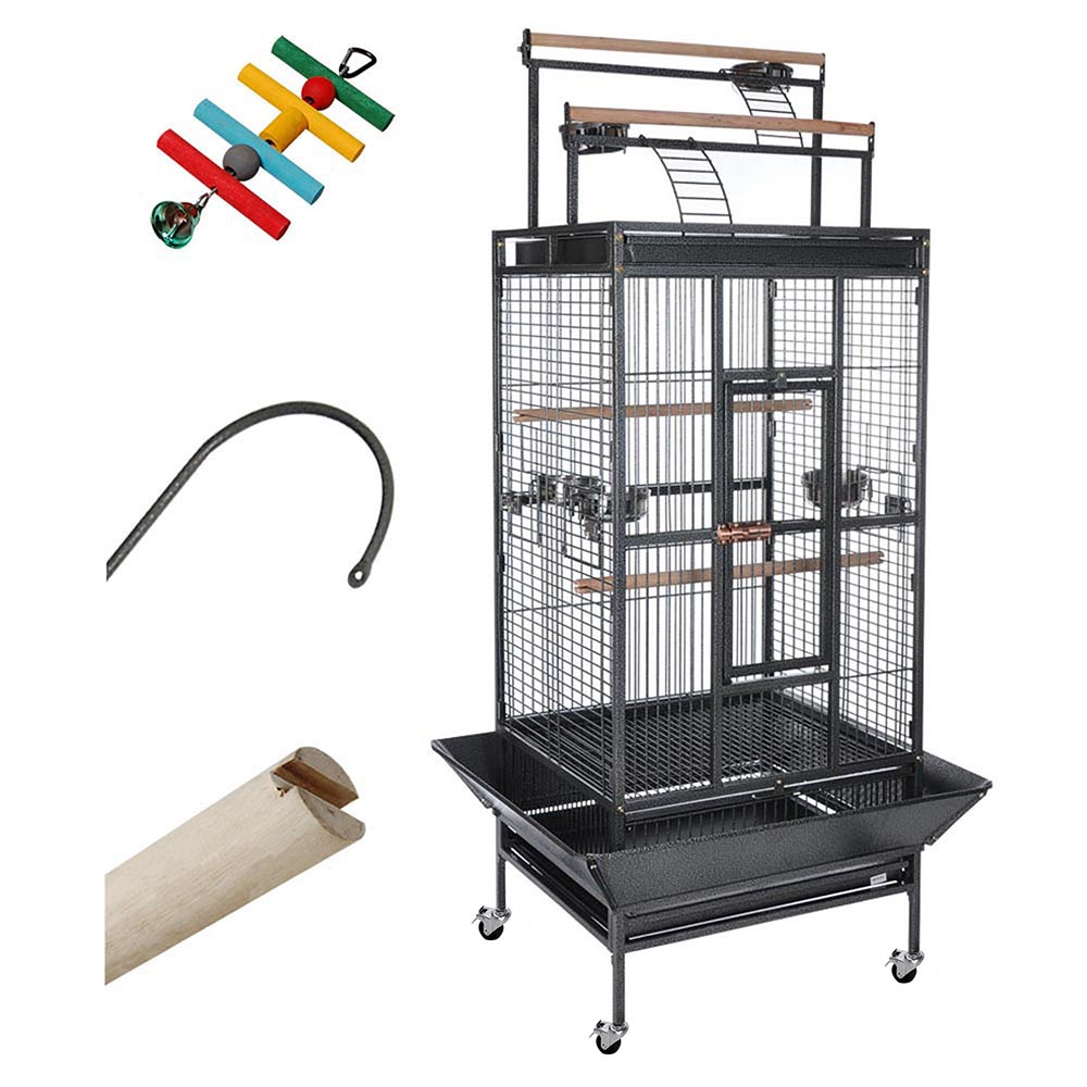 Yescom Parrot Bird Cage Storey Large Play Top Double Ladder Design House Pet Supply for Macaws Finch w/ Free Toy