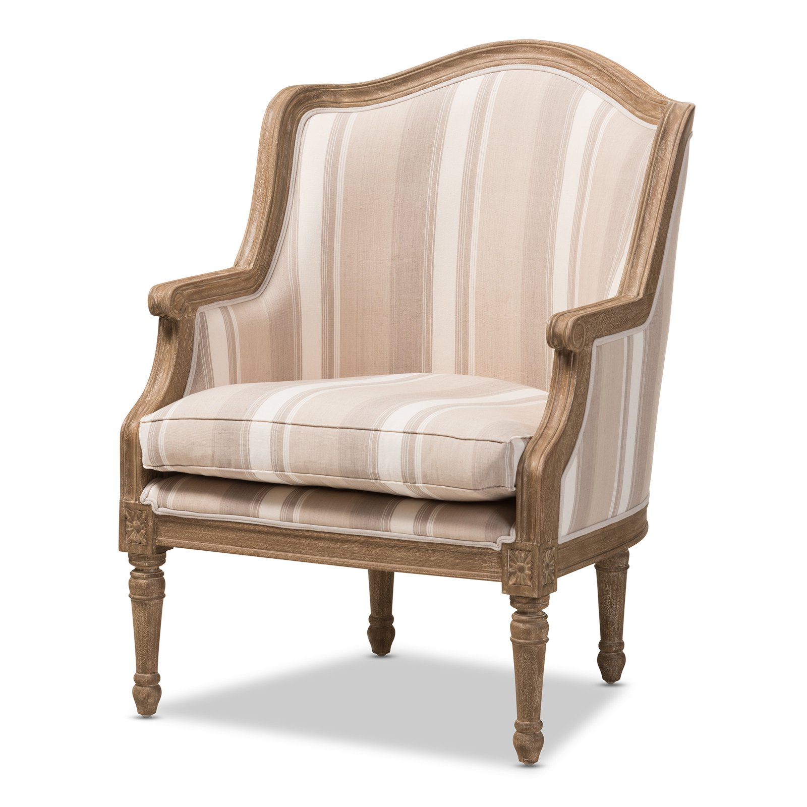 Baxton Studio Charlemagne Traditional French Accent Chair, Oak with Brown Stripe