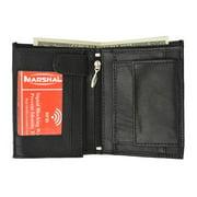 RFID Blocking Premium Leather European Style Bifold Trifold Wallet with ID Window RFID P 518