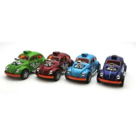 "4PC Set: 5"" Kinsmart VW Volkswagen Beetle Dragracer Diecast Model Toy Car 1:32"