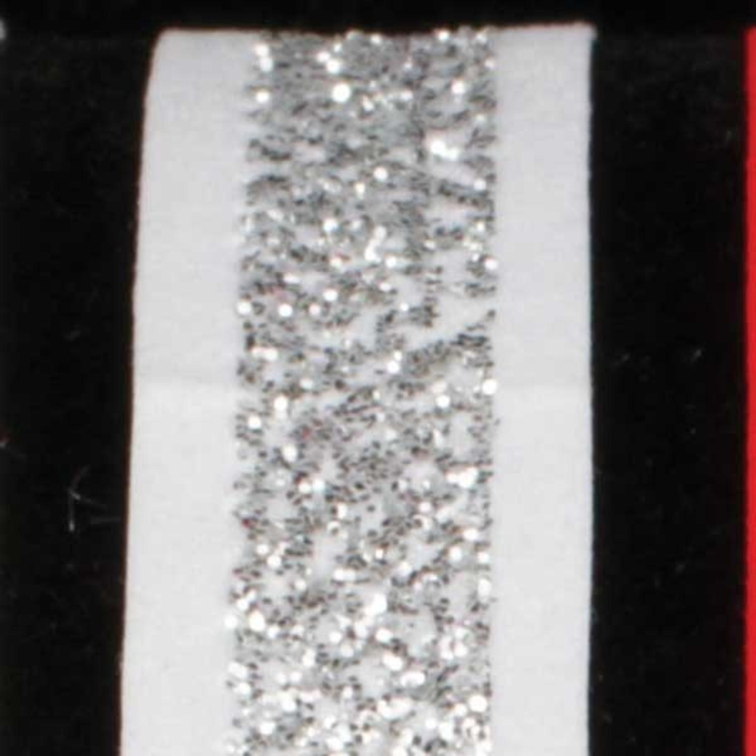 "Velvet Bands of Glitter Silver and White Wired Craft Ribbon 5/8"" x 60 Yards"