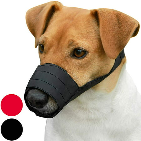 Adjustable Dog Muzzle Nylon Safety Pet Muzzles for Small Dogs Puppies, Black