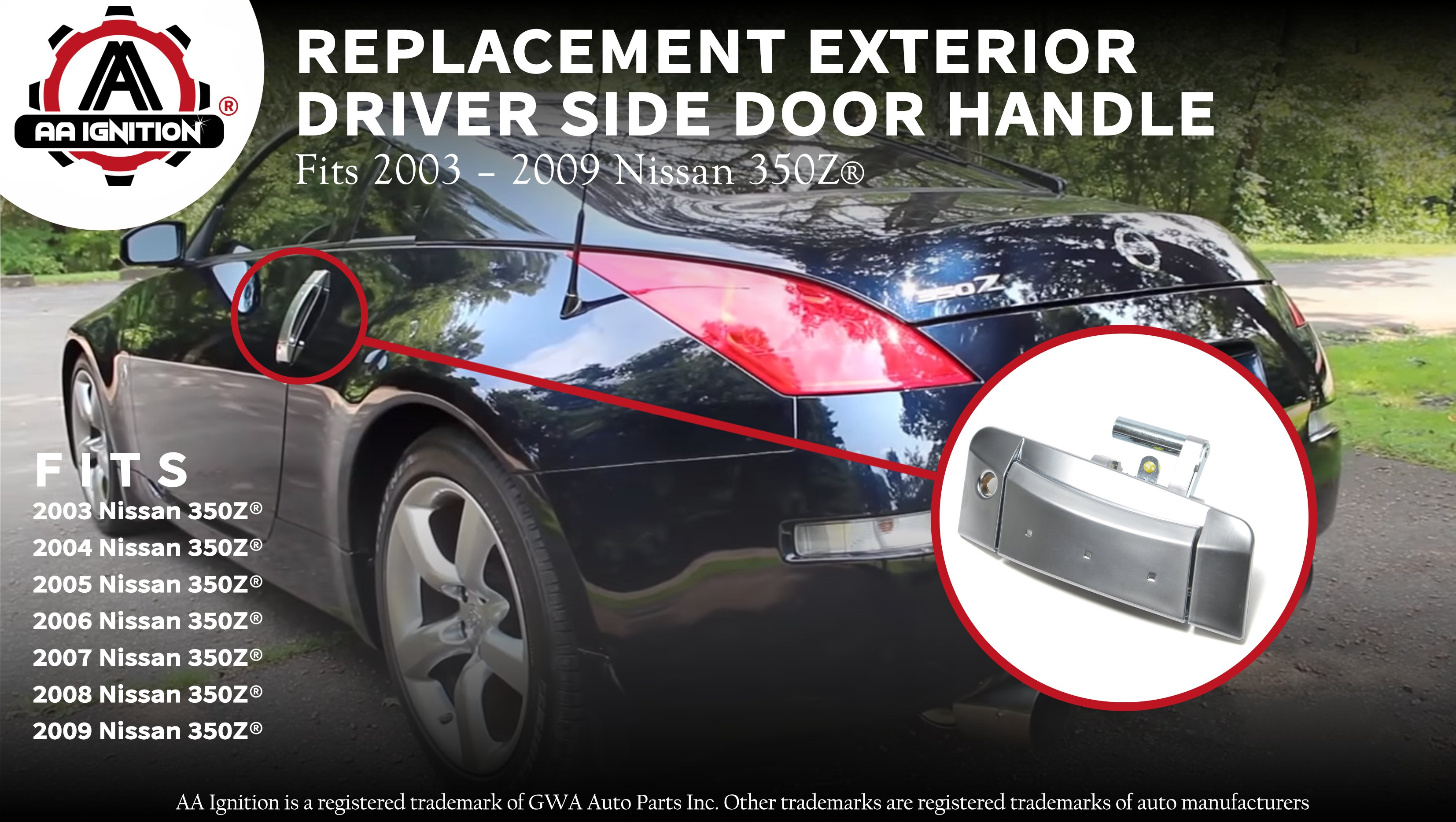 Left Driver Outside Exterior Silver Door Handle For 2003-2009 Nissan 350Z
