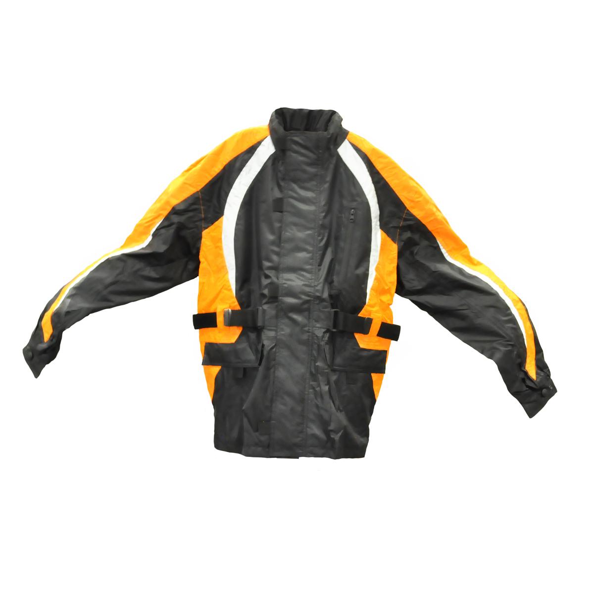 Fulmer, TRS2ORGM, Men's TRS2 StormTrak Rain Suit Motorcycle Rain Jacket, Pants & Carry Bag - Orange, M