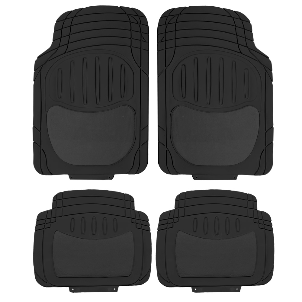 UAA Premium Semi-Carpeted Front & Rear Rubber Floor Mats Set - Black
