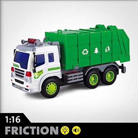 FMT 1:16 Push and Go Friction Truck Toy For Boys, Girls Garbage Dump Truck With Lights and Sounds Effects Fun For All Ages