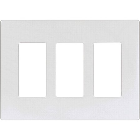 Aspire 9523 Decorative Mid Size Screwless Wall Plate, 3 Gang 4-1/2 in L x 6.37 in W 0.08 in T, White