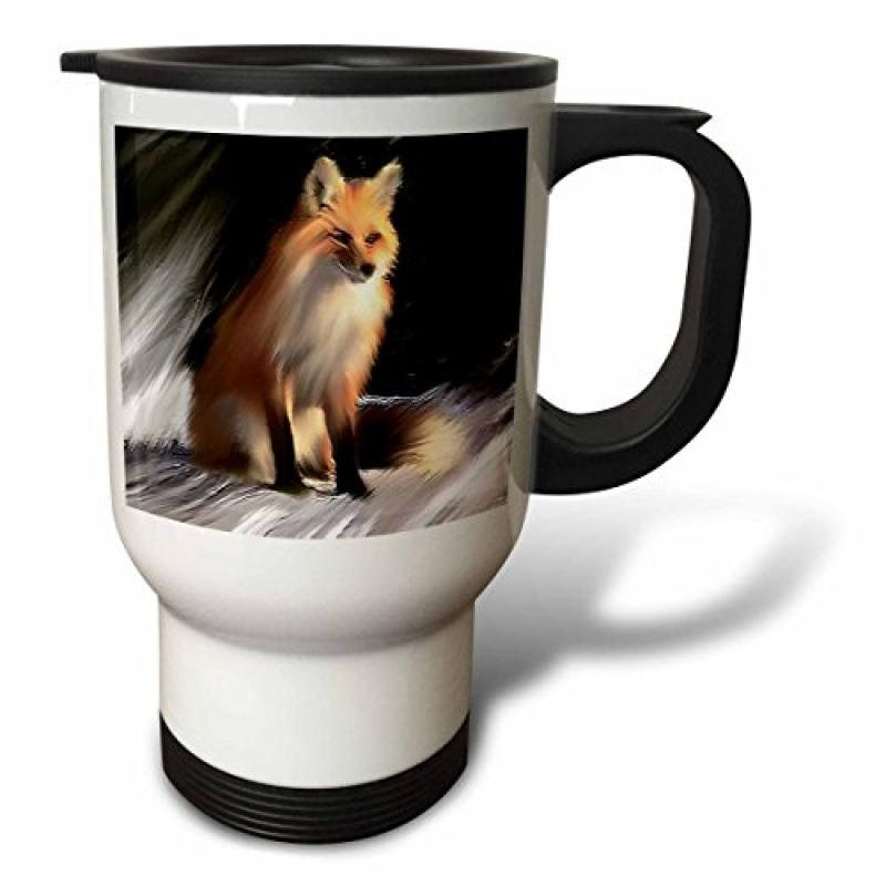 3dRose Fox, Travel Mug, 14oz, Stainless Steel