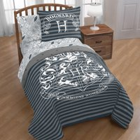 Harry Potter Hogwarts Crest Gray & White Bed in a Bag Bedding Set w/ Reversible Comforter