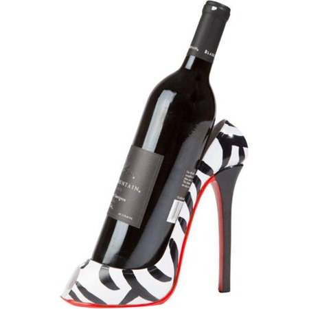 Zebra Wine Bottle - High Heel Wine Bottle Holder - Stylish Conversation Starter Wine Rack By KitchInspirations (Zebra Print)