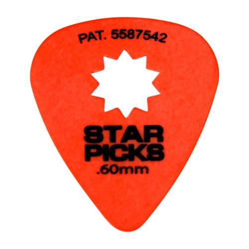 Everly Star Grip Guitar Picks (50 Picks) .60 mm Orange by Everly
