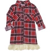 """Girls' """"Lace Groupie"""" Knit Plaid Top with Chest Pockets and Lace Hem"""