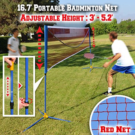 Strong Camel Badminton Net Volleyball Tennis portable Net w Stand for Family Sport-16.7x2.5