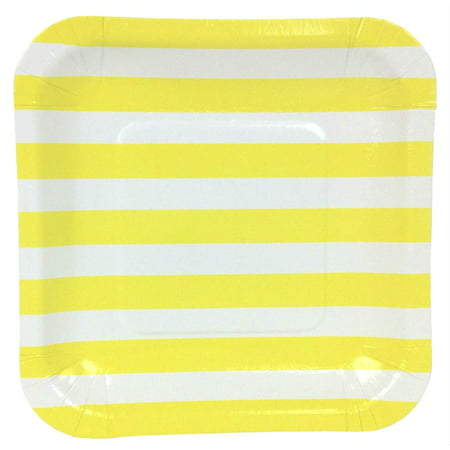 - Just Artifacts Square Party Paper Plates (7.25in 12pcs) Lemon Yellow Striped
