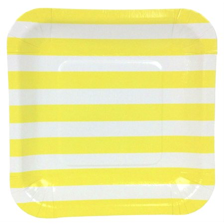 Just Artifacts Square Party Paper Plates (7.25in 12pcs) Lemon Yellow Striped