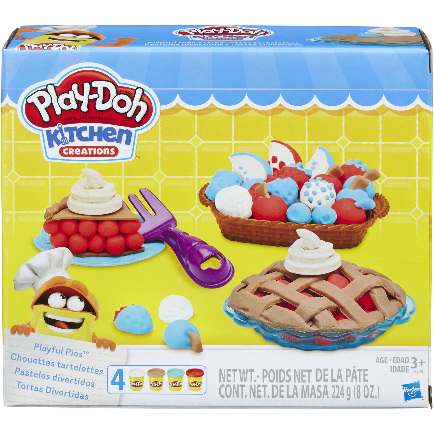 Play-Doh Kitchen Creations Playful Pies Food Set with 4 Cans of Dough