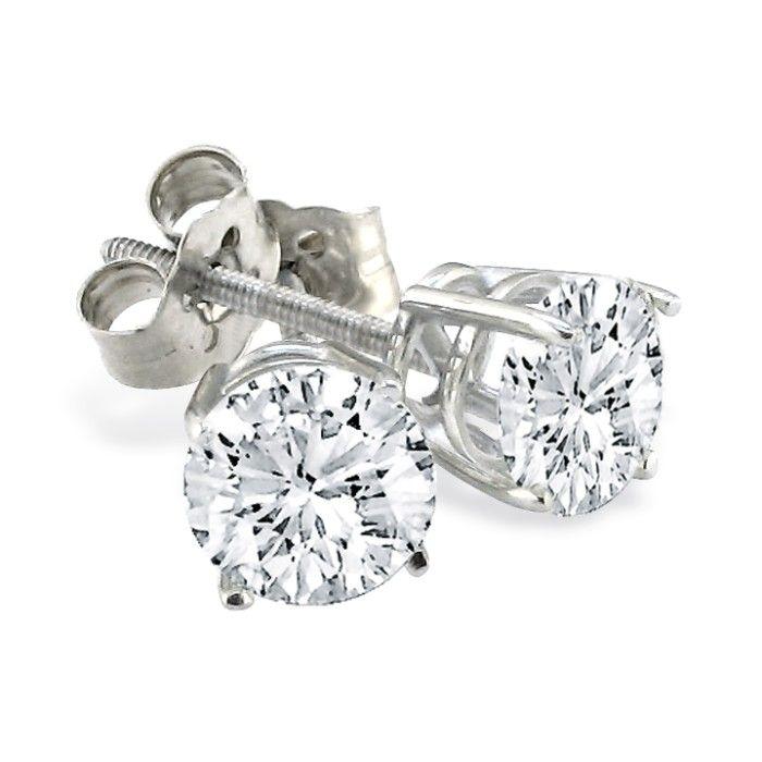 1 3 4ct Round Diamond Stud Earrings Set in Platinum by SuperJeweler