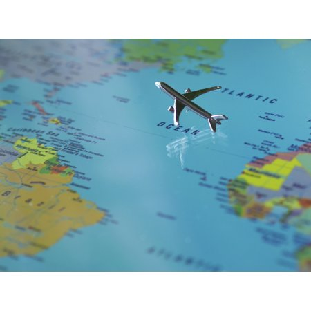 Aircraft Map (LAMINATED POSTER Earth Map Of The World Aircraft Global Continents Poster Print 24 x)