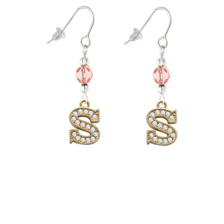 Crystal Gold Tone Initial - S - Beaded Border - Pink Bead French Earrings ()