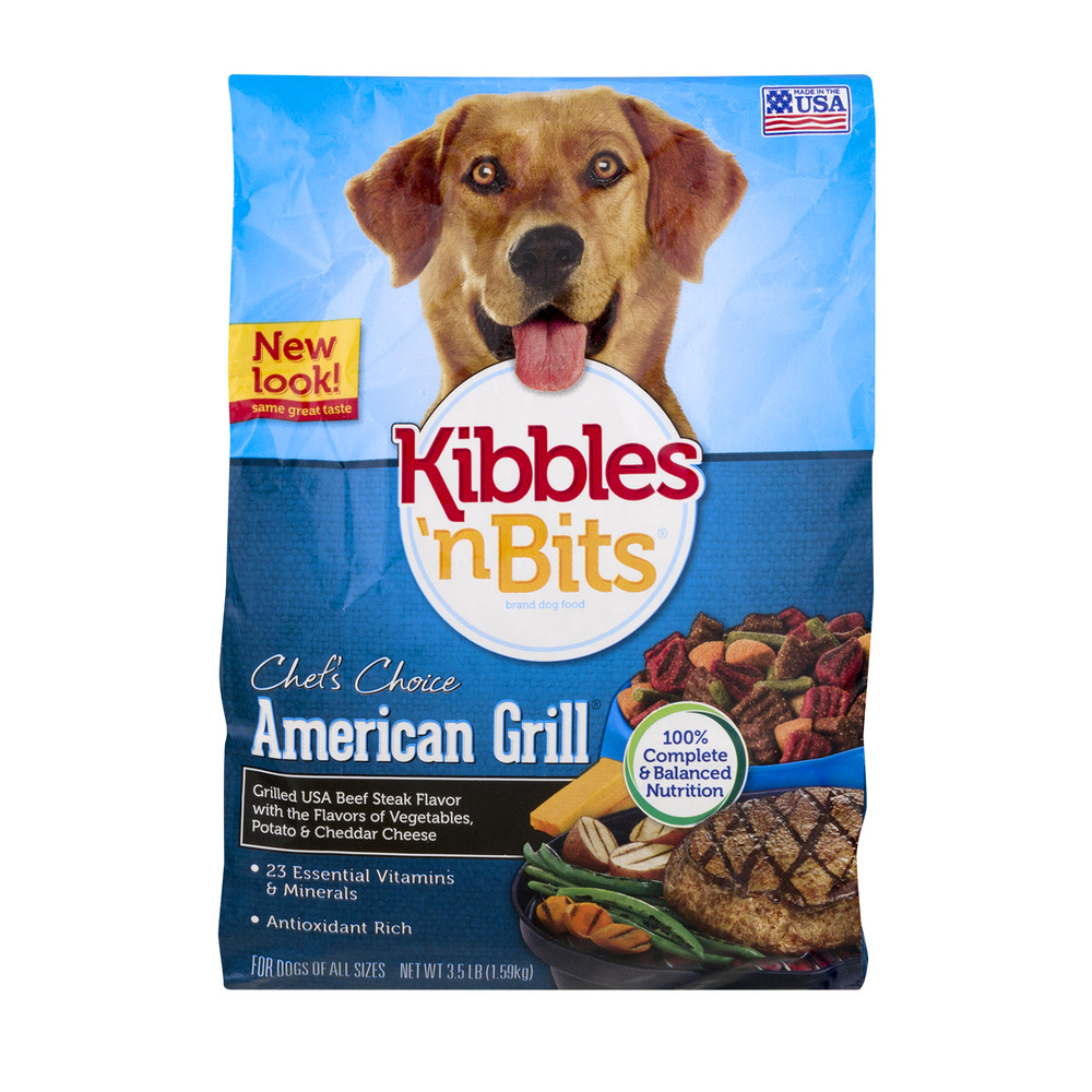 Kibbles 'n Bits Chef's Choice American Grill Dog Food Beef Steak, 3.5 LB