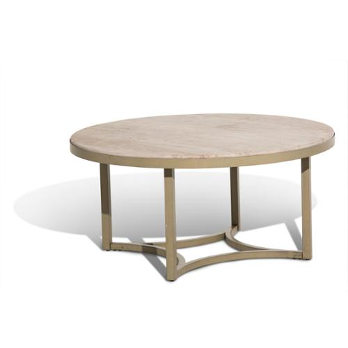 Michael Amini Alta Round Cocktail Table w/Travertine Marb...