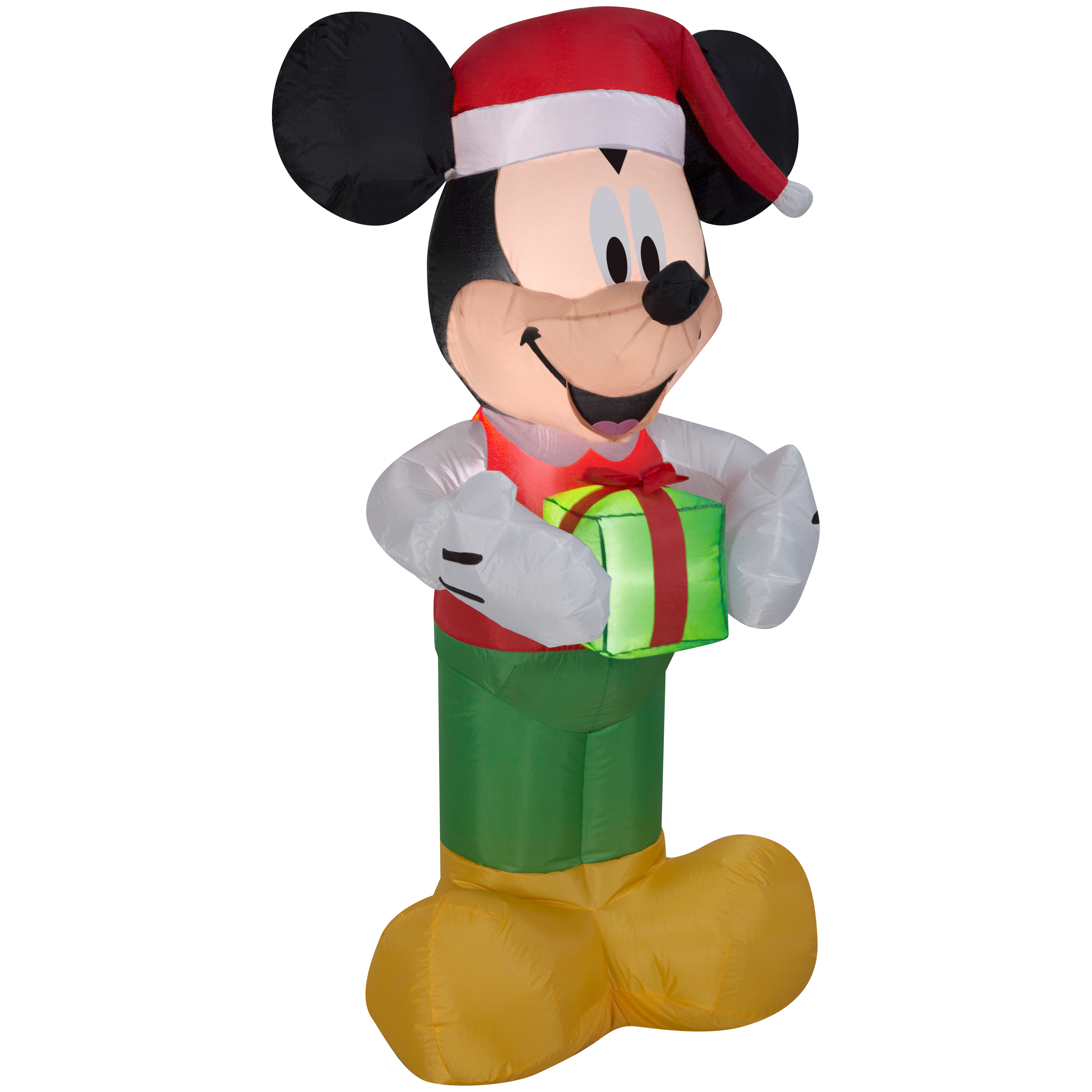 Image of Airblown Christmas Inflatable Mickey Holding Present 5' Tall