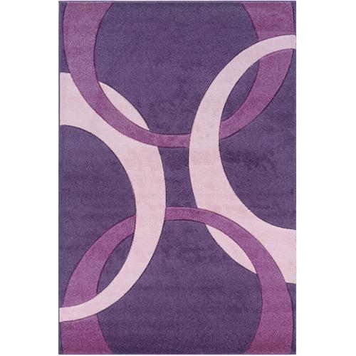 "Corfu Power Loomed 1'10"" x 2'10"" Rug, Purple/Baby Pink"