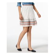 Tommy Hilfiger Womens Embroidered Mini Flounce Skirt