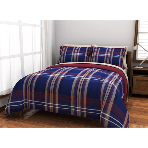 American Originals Burgundy Plaid Reversible Bed in a Bag Bedding Set
