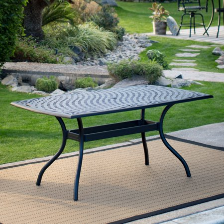 Belham Living Sorrento Cast Aluminum X In Rectangular Patio - Rectangular metal patio dining table