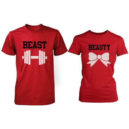 Beauty And The Beast Couples (RED Beauty & Beast Couple T-shirt (Two Shirts)  Matching Couple)