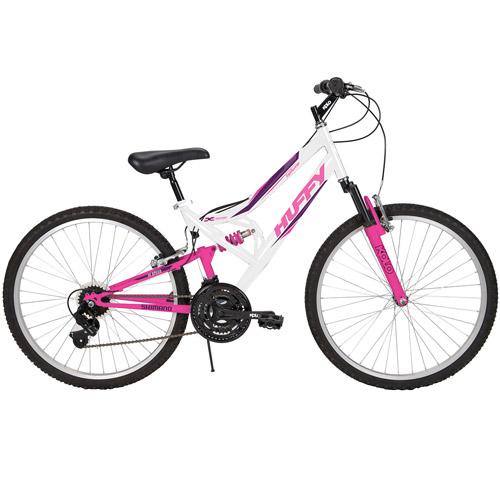 "26"" Huffy Trail Runner Women's Mountain Bike with Full Suspension, White/Pink"