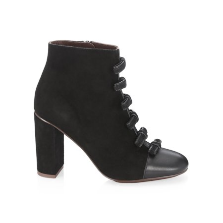 See by Chloé Womens Gisel Bow Suede Almond Toe Ankle Chelsea, Black, Size 9.0 . Buy with confidence!