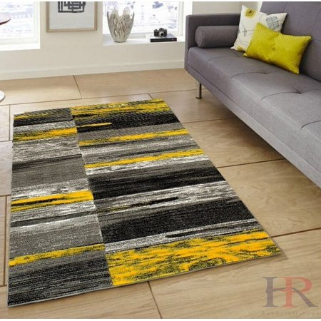 Handcraft Rugs Yellow Grey Silver Black Abstract Area Rug Modern Contemporary Divers Shades And Colors Design Pattern