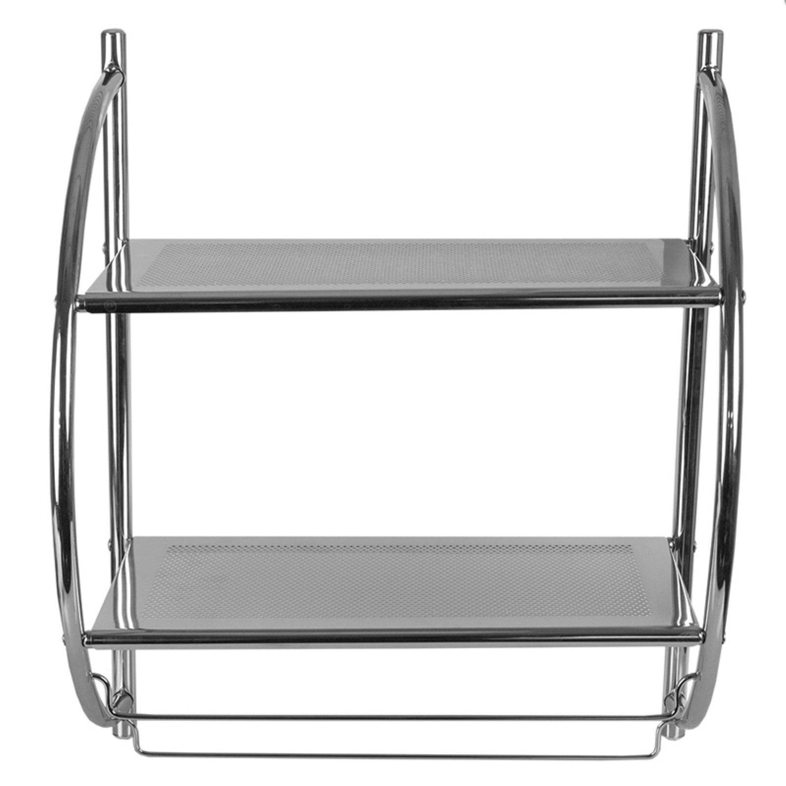 Home Basics 2 Tier Bathroom Shelf Storage Unit Chrome Walmart Com Walmart Com