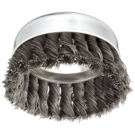 Carbon Wire Knot Cup - Vortex Pro Wire Cup Brush, Threaded Hole, Carbon Steel, Partial Twist Knotted, Heavy-duty brushing action..., By Weiler Ship from US