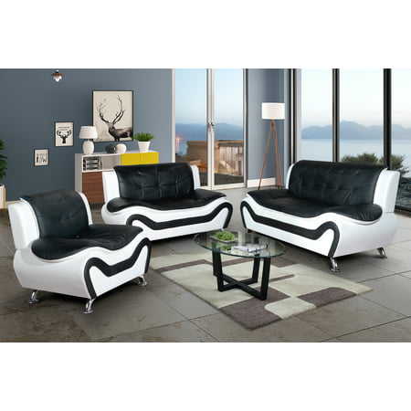 3 piece Living Room Set_Living Room Sofa Set, Sof\Loveseat\Chair, Black&White Color, Faux Leather Upholstery Material, More color and Styles Available