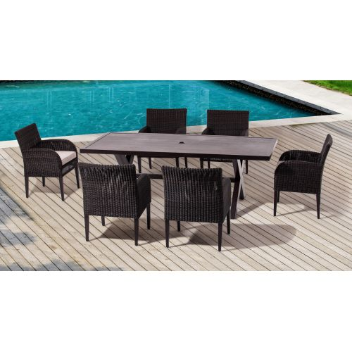 Miseno MPF750UMDS Sahara Outdoor Dining Set with Aluminum Frame, Round Wicker and Sunbrella Fabric Cushions