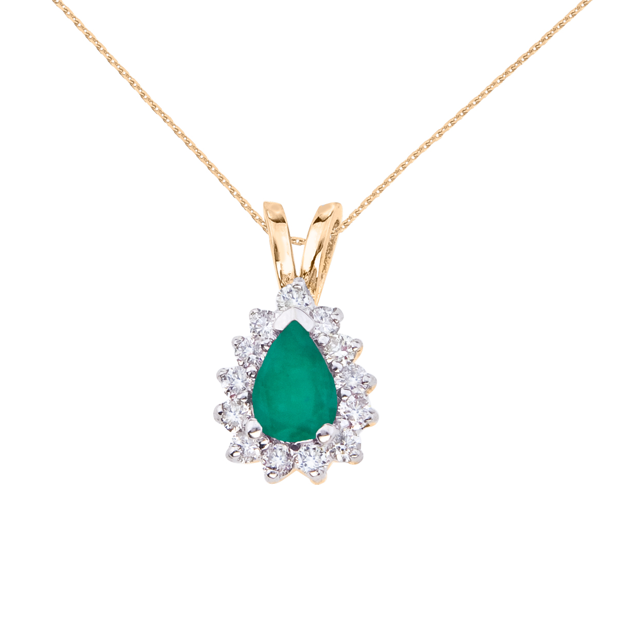 Direct 14k Yellow Gold 6x4 mm Pear Shaped Emerald and Dia...