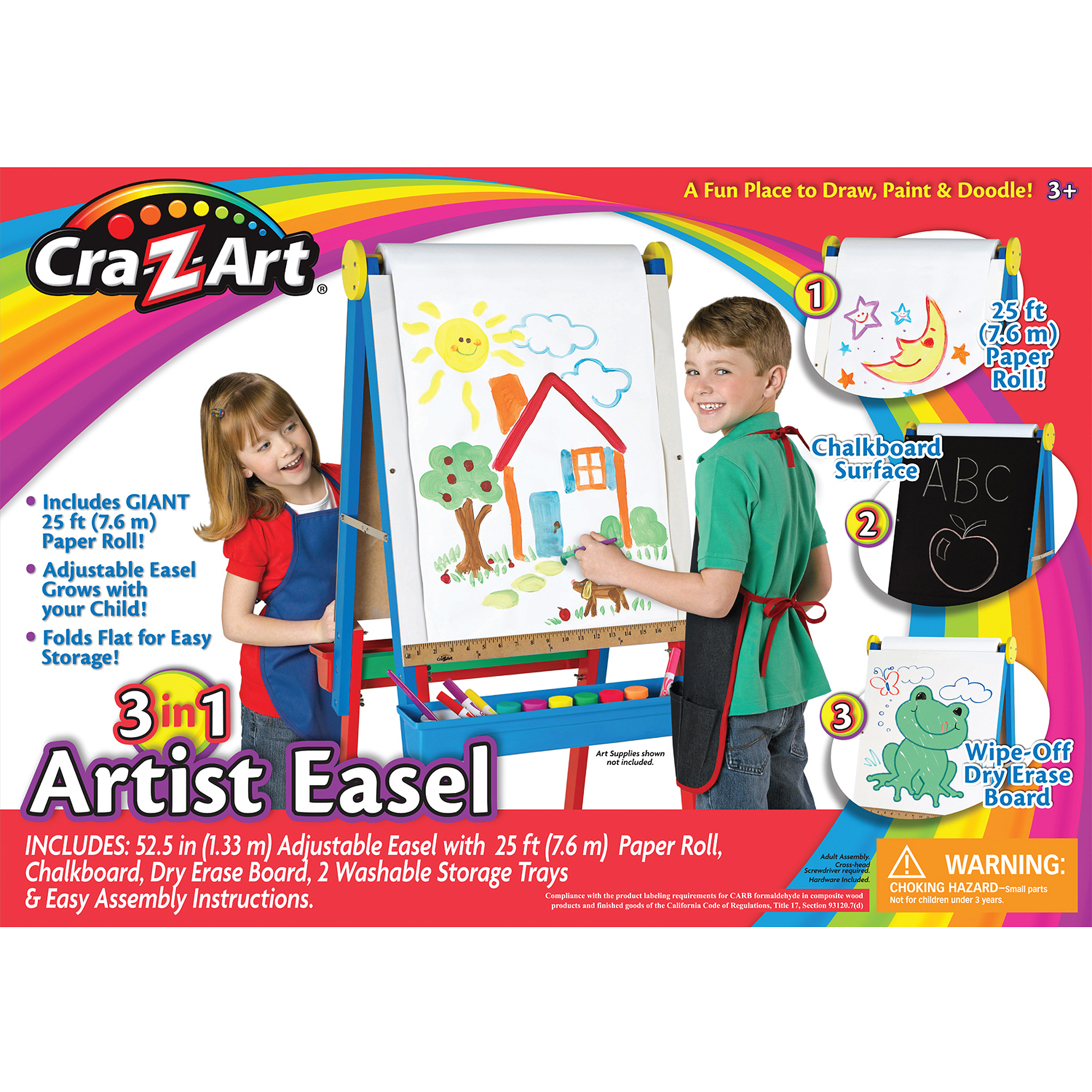 3-in-1 Wood Artist Easel by CRA-Z-ART CORP.