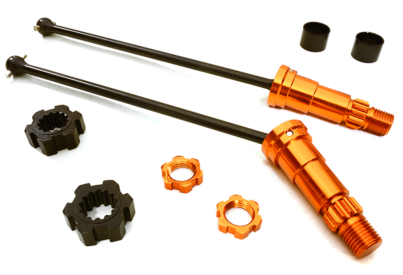 Integy RC Toy Model Hop-ups C27071ORANGE Universal Drive Shafts w  +6mm Ext. Stub Axles... by Integy