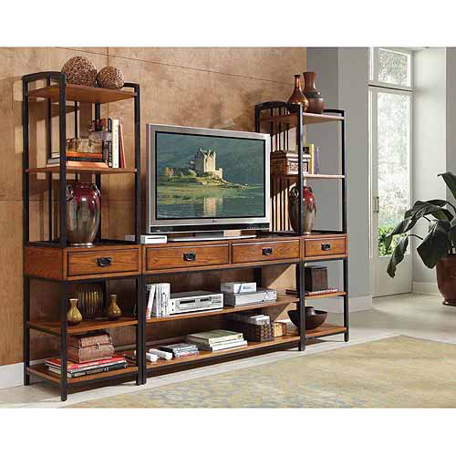Home Styles Modern Craftsman Distressed Oak 3-Piece Entertainment Center
