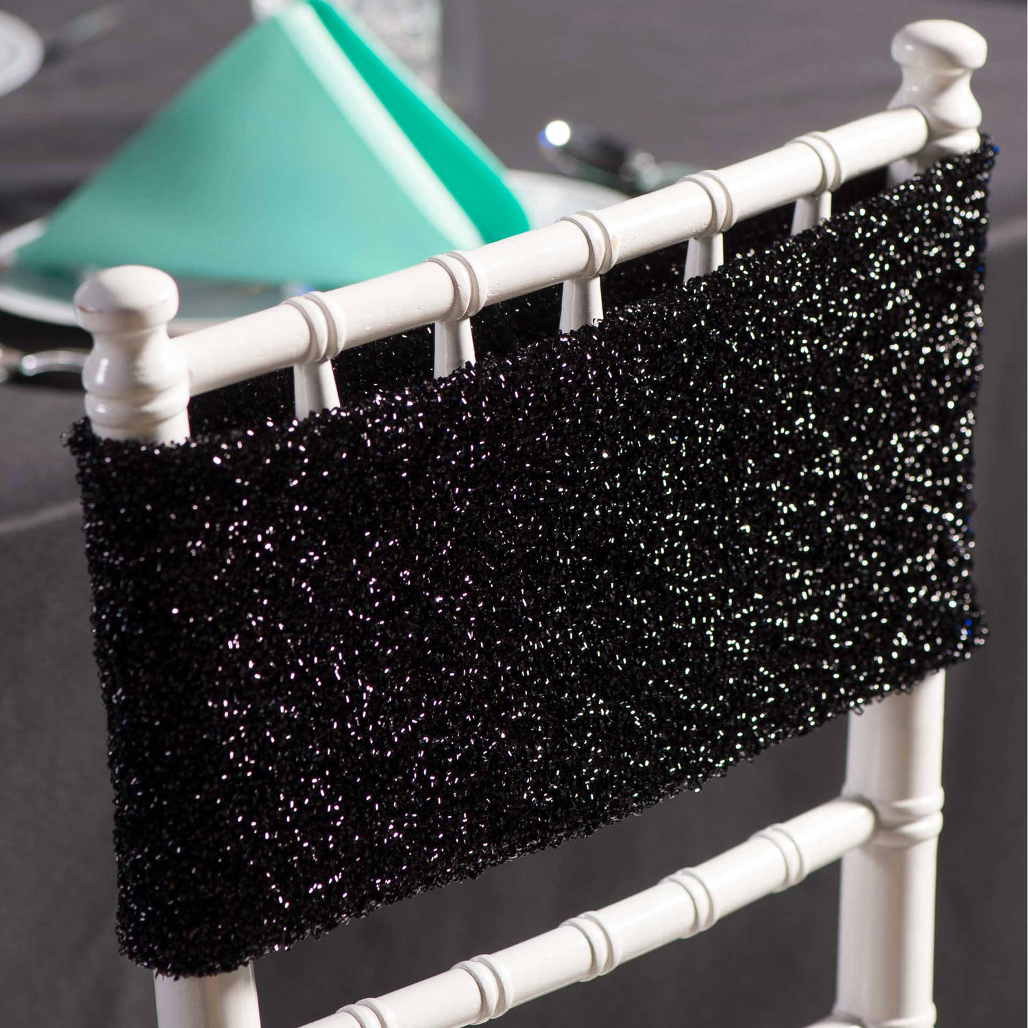 Glitter Chair Band, Black, Pack of 10