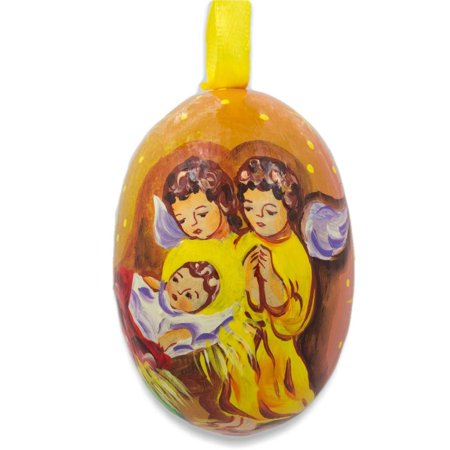 Three Angels Admiring Jesus Wooden Christmas Ornament 3 Inches