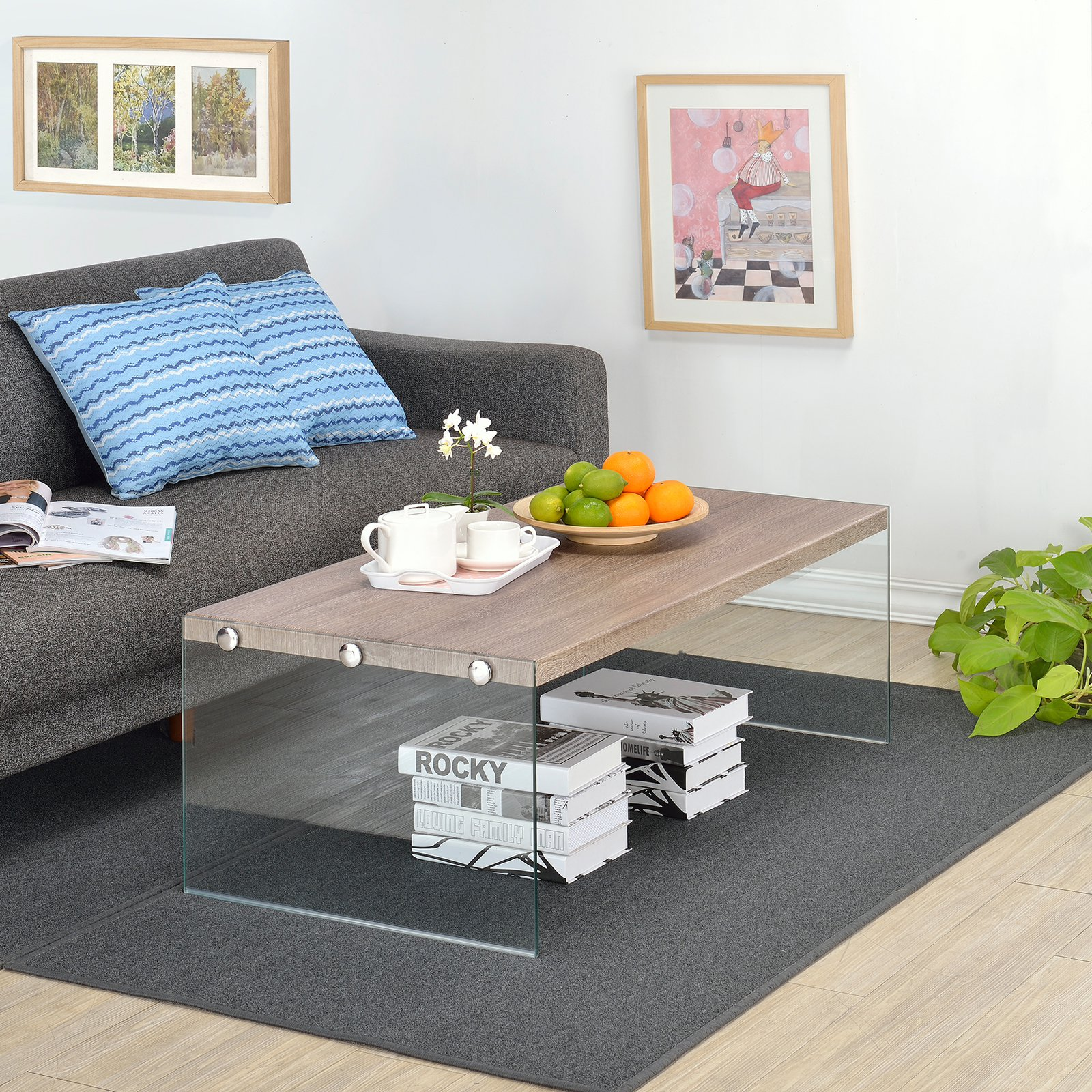 Fox Hill Trading Millenial Upton Wood and Glass Coffee Table