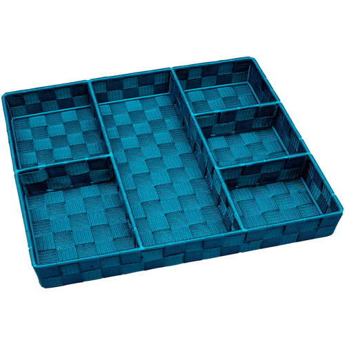 Simplify 6-Compartment Woven Strap Drawer Organizer