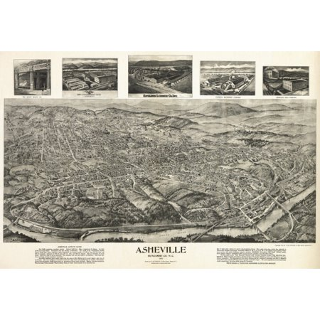 Old Map of Asheville North Carolina 1912 Buncombe County Poster Print