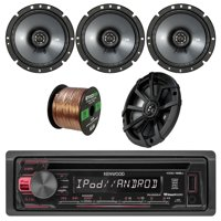 Kenwood In-Dash Single-DIN CD Player AUX Car Stereo Receiver W/Kicker 6.75 Inch CS-Series Black Car Coaxial Speakers 2 Pairs & Enrock Audio 16-Gauge 50 Foot Speaker Wire Cable-CCA Copper Clad Aluminum