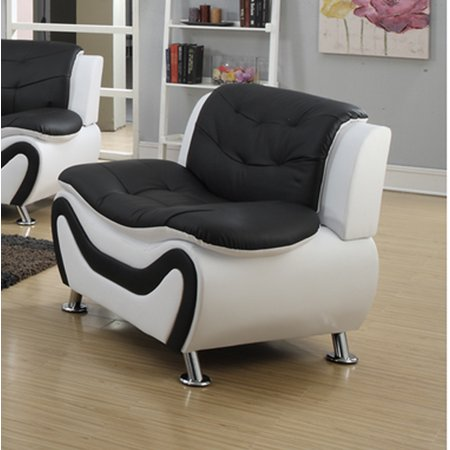 Frady Black And White Faux Leather Modern Chair Walmart Com