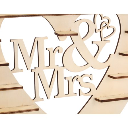 Wood Mr & Mrs Heart Tree Wedding Chocolate Display Stand Centrepiece - image 6 de 7